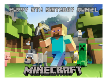 Minecraft A4 Edible Cake Toppe