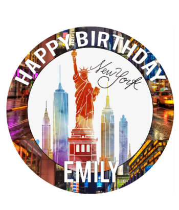 New York edible cake topper