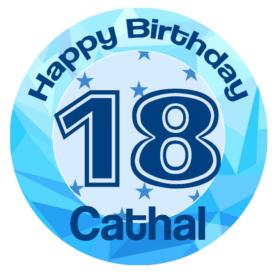 Birthday 18 Blue Edible Cake Topper