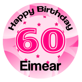 Birthday Number 60 Edible Cake Topper