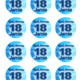 Birthday Number Cupcakes 18 Blue