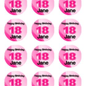 Birthday Number Cupcakes 18 Pink