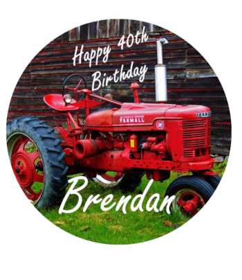 Vintage Tractor Edible Cake Topper