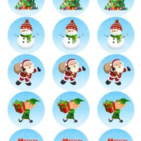 Christmas Edible Cupcake Toppers