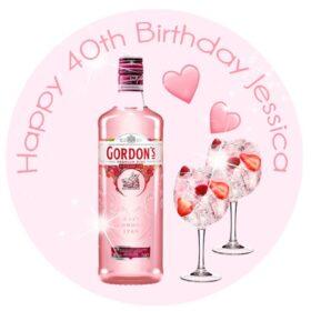 Pink Gin Edible Cake Topper