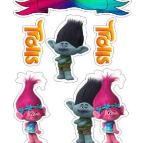 trolls cut out cake toppers