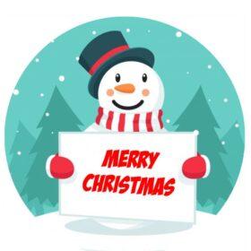 Christmas Snowman Edible Print