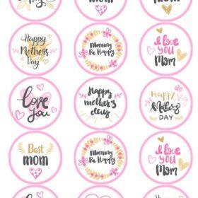 Mothers Day Edible Cupcake Prints