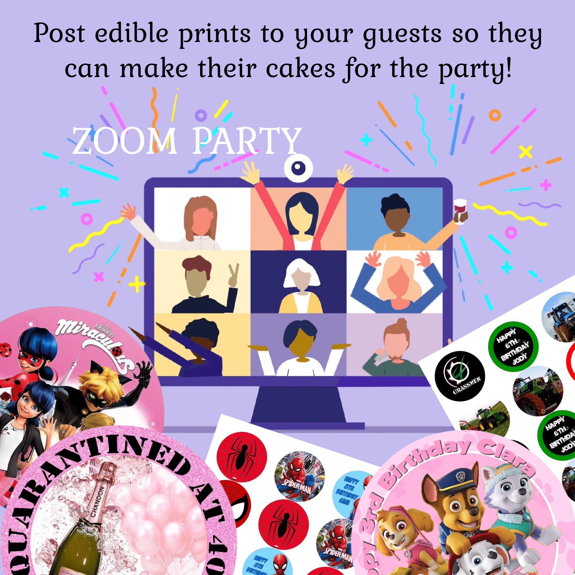 Send Edible prints to your zoom party guests