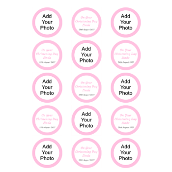 Add your Photo Christening Cupcakes Pink